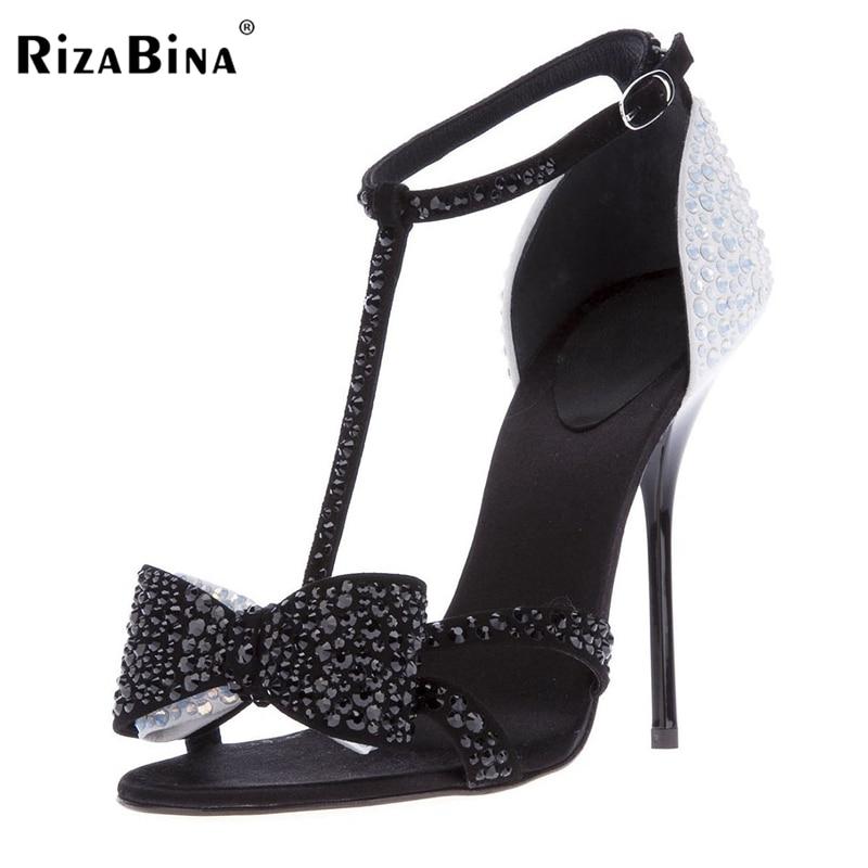 ФОТО RizaBina Stylish Women Sandals Crystal Thin Heels Sandals Elegant Shoes Woman Can be Customized Footwear Size 35-46 B049