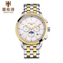 Оригинальные holuns мужские часы лучший бренд класса люкс 2017 полный нержавеющей стали повседневная 40 мм большой циферблат бизнес наручные часы мужчины винтаж