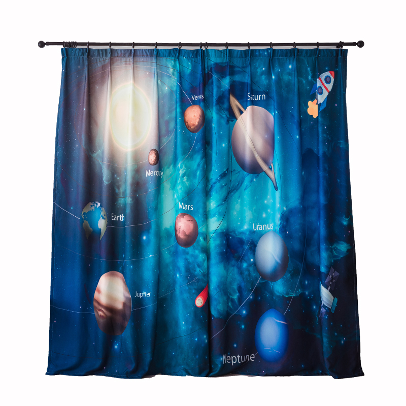 3D Printed Planet Star Blackout Curtains for Living Room Cute Drapes for Boys Room Kid Window Treatment Panel Universe Science in Curtains from Home Garden