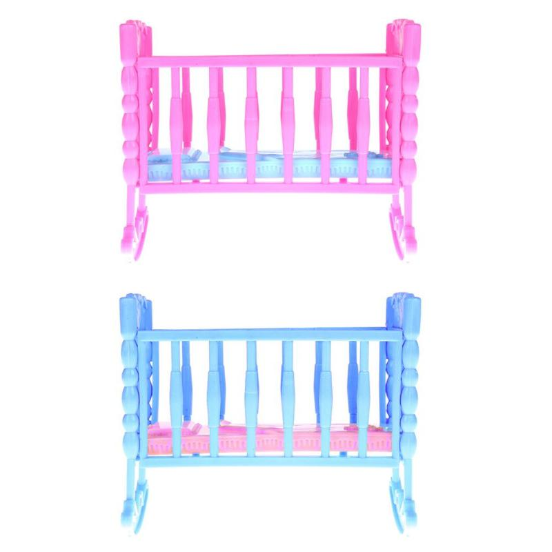 One Bed For Mini Doll House Girl Home Furniture Baby Born Cradle Bed For Fantasy Accessories Gift Toy Doll Accessories Baby ...