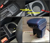 For New Polo Vento Armrest Box Central Store Content Storage Box With Cup Holder Ashtray USB