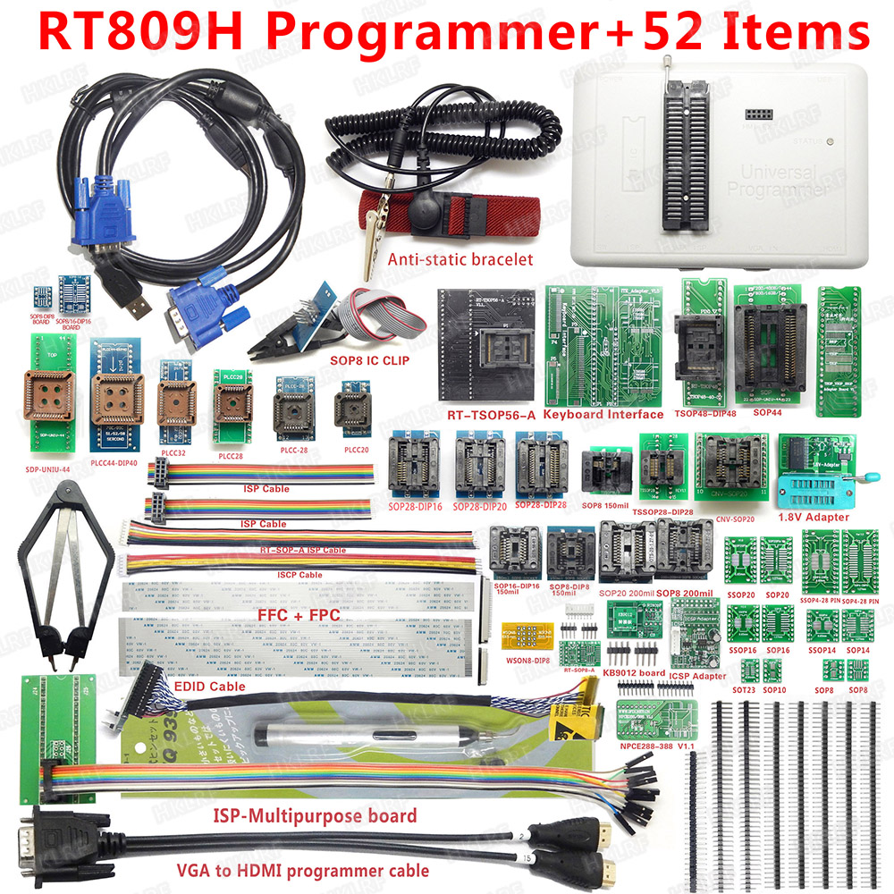 38-Items Programmer Flash-Extremely RT809H Edid-Cable Original WITH CABELS Emmc-Nand