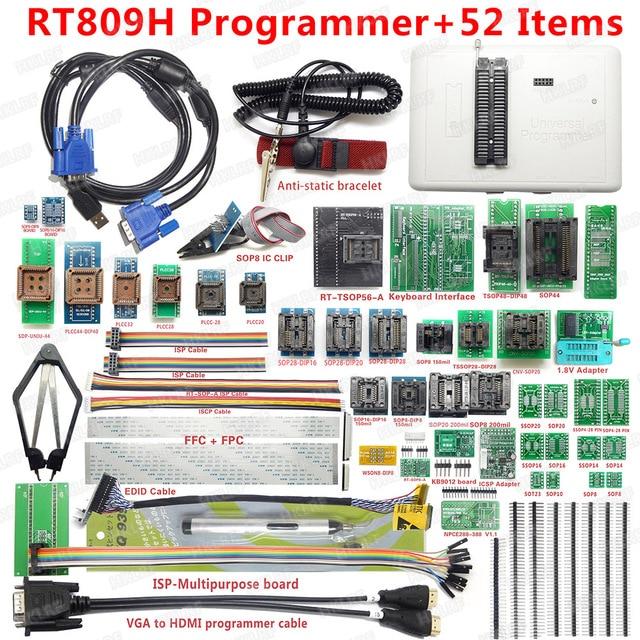 شحن مجاني مبرمج عالمي سريع للغاية RT809H EMMC Nand FLASH + 38 قطعة + كابل Edid مع CABELS EMMC Nand
