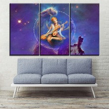 On Canvas Print And The Wall Decorative One Set Framework Or Frameless 3 Piece Saraswati Indian Goddess of Knowledge Painting
