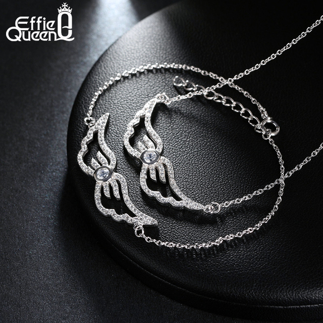 Effie Queen Women Necklace/Bracelet Set Platinum Plated Luxury Crystal Full Paved Angel Wings Jewelry Set for Woman WS80