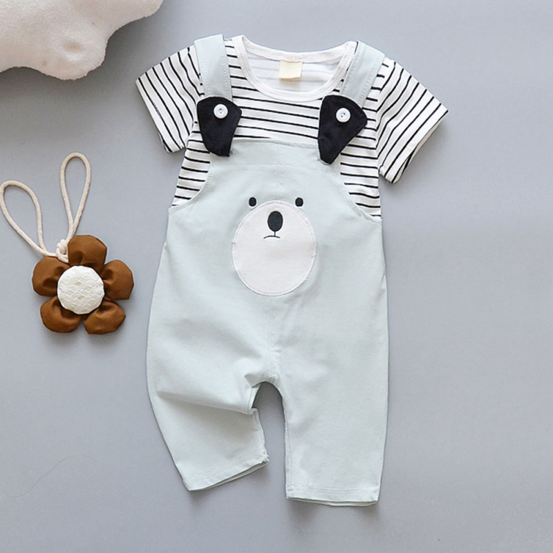 Summer Casual Baby Boys And Girls Cute Bib Pant Short Sleeve And Suspender Pants Kit Kids Cotton Two piece Outfit Set 0 4Y in Clothing Sets from Mother Kids