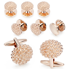 HAWSON 8 pcs Set Rose Gold Flower Cufflinks Tuxedo Studs For Mens Wedding Shirt Stylish Metal Cuff links