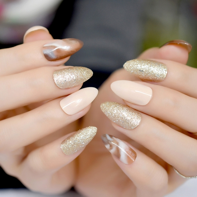 Brown Marble Acrylic Nails Gold Glitter Medium Sharp Stiletto False