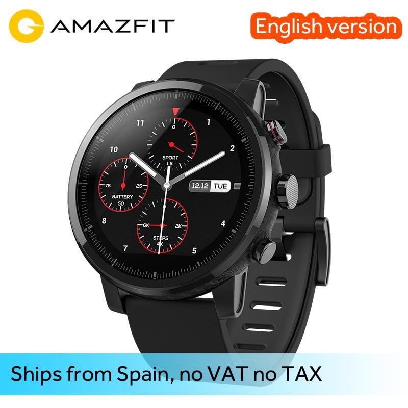 [Английская версия] Оригинальный Amazfit strato Смарт часы 2/2 s Bluetooth GPS 11 видов спорта режимов 5ATM Водонепроницаемый