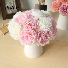 5 heads/ bouquet Peony Artificial flowers Home Decor Silk Fake Flower Peonies artificial for Wedding DIY decoration