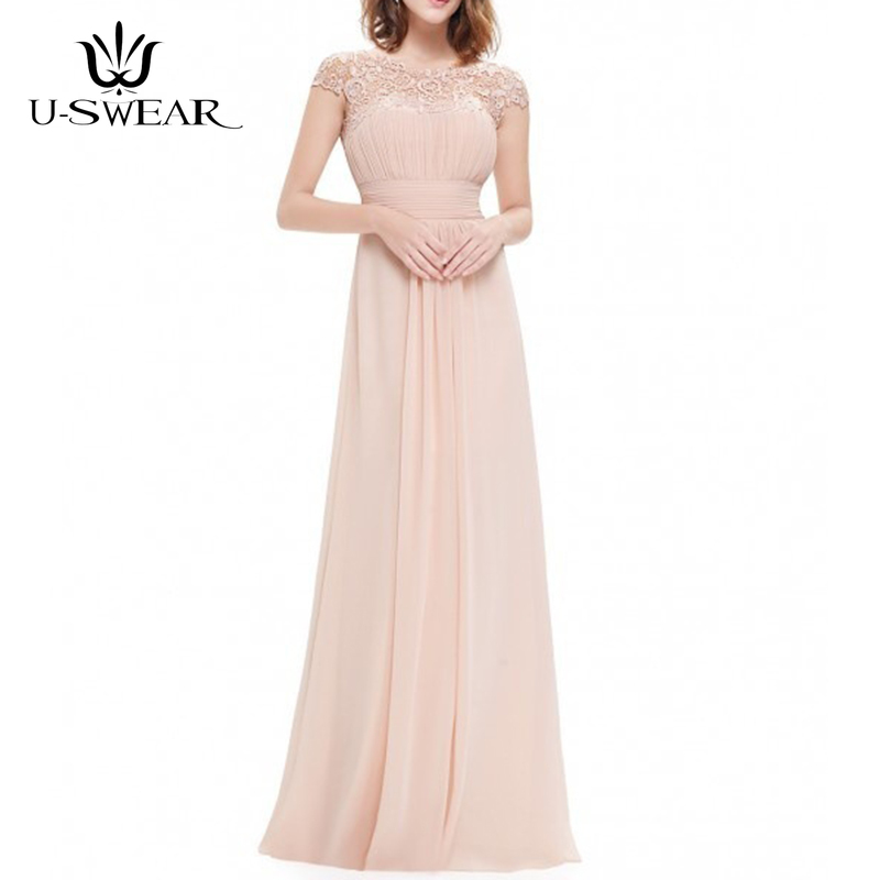 U-SWEAR New Arrival Women Fashion Sexy O-Neck Lace Cut-Out Long Elegant   Evening     Dresses   Party Prom Formal   Dresses   Robe De Soiree