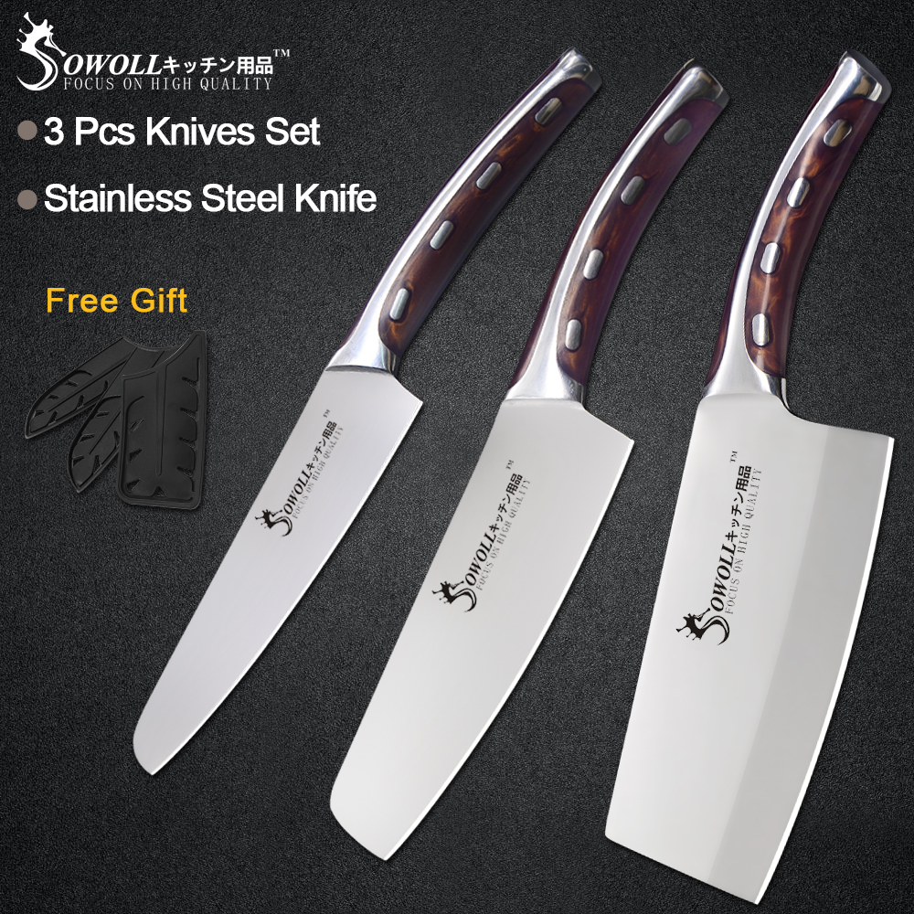 Sowoll Knife-Set Chopping-Knives Chef High-Carbon-Blade Kitchen Stainless-Steel Fibre-Handle