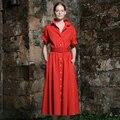 Manera de la Alta Calidad de Las Mujeres 2017 Hot Summer Breve Sólido Rojo y Verde Vestido Largo Botones Turn-down Collor Runway Vestidos Vestido