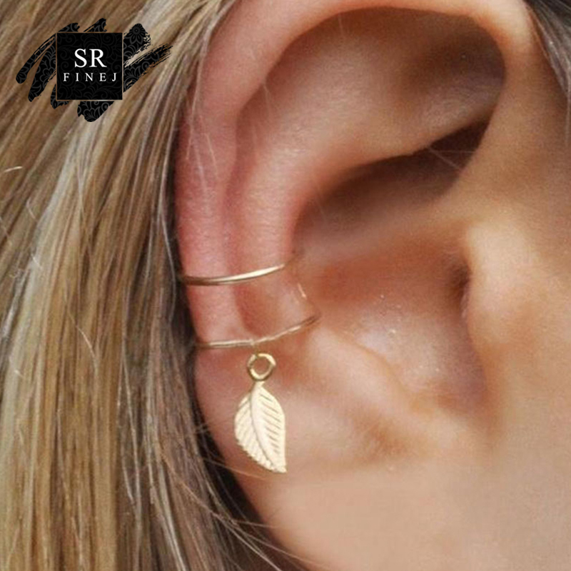 SR:FINEJ Leaf Clip-on Earrings For Women No Pierced Non-piercing Earcuff Ear Clip Earrings Without Piercing Gold Color Jewelry золотые серьги по уху