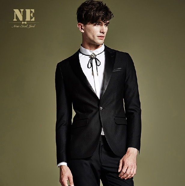 ЭРЛ ДЖОЭЛ высокое качество 2015 мужчин черный супер тонкий формальный свадьба жених деловые костюмы пиджаки молодой человек осень ретро куртки 3xl