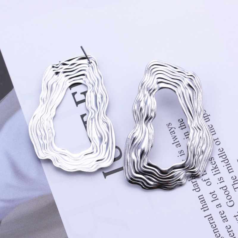 EK148 European Brand Big Drop Earrings for Women Hollow Irregular Geometric Oval Round Metal Exaggerated Earrings ZA Jewelry