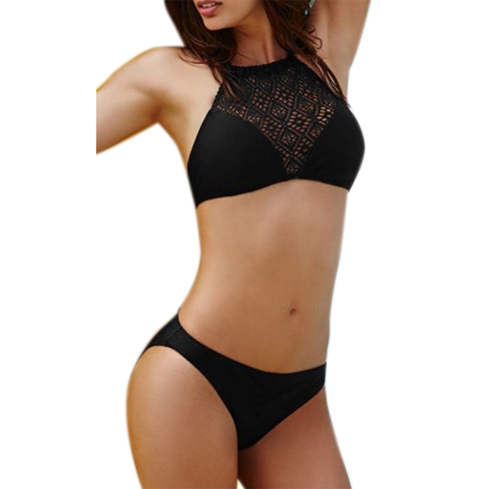 Bikini Sexy Swimwear Women  Push up Padded Lace Hollow Out High Neck Strap Cross Black Swimsuit Beachwear maillot de bain femme