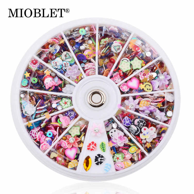 MIOBLET New Mixed Fimo Resin Nail Sequin In Wheel Colorful Glitter Nail Art Tips Slice Decoration Rhinestone DIY Design Manicure