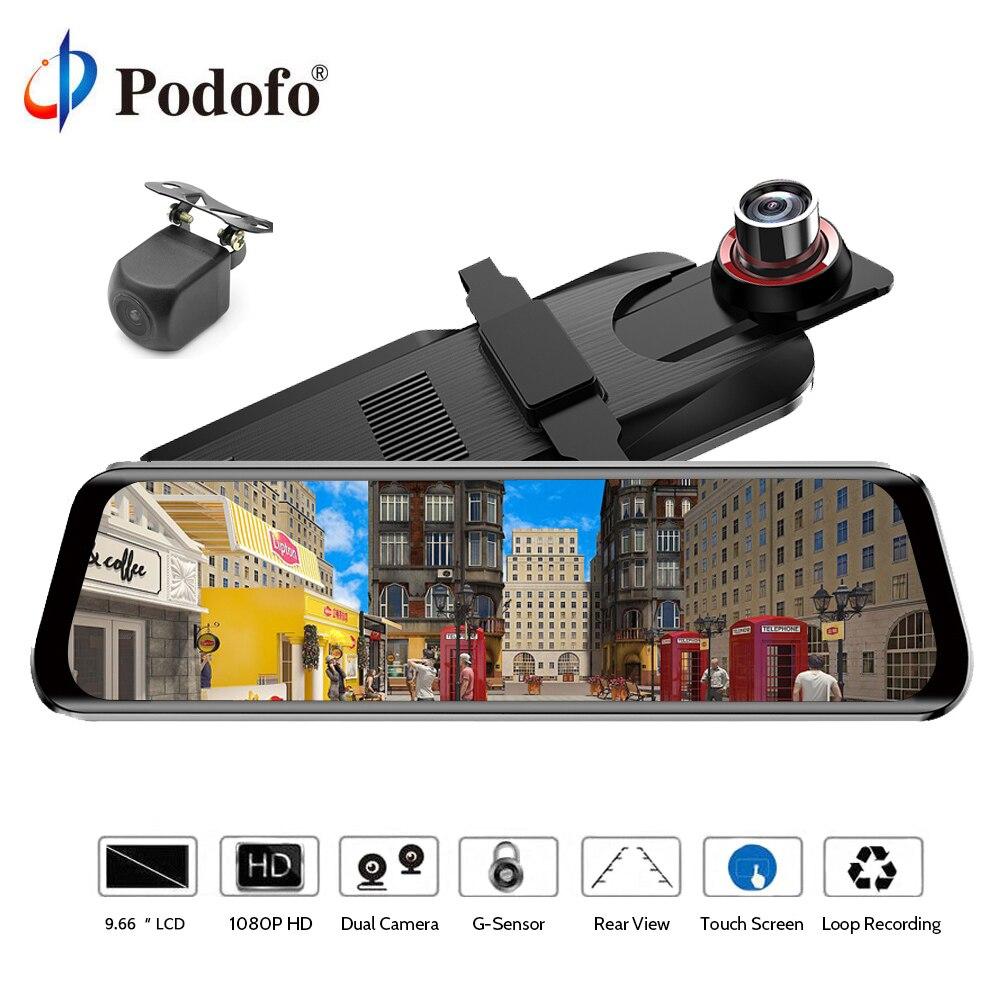 Podofo 10 Автомобильный dvr Dual Dash Cam зеркало заднего вида тире камера Автозапуск ADAS ips сенсорный экран Full HD 1080p WDR Автомобильный рекордер
