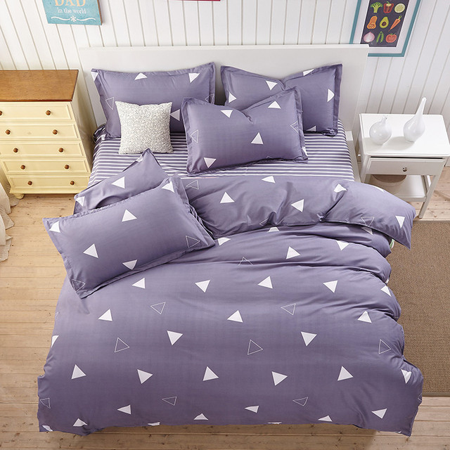Purple Geometric Design 3 4pcs Bedding Set Duvet Cover Pillowcases