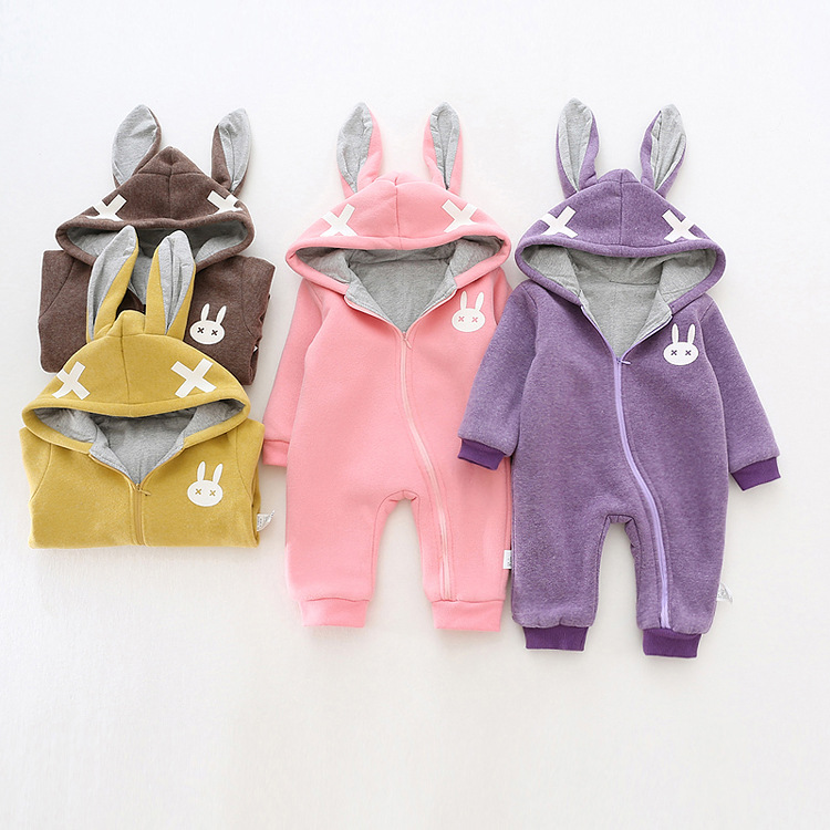 Baby Clothes Baby Rompers Winter Christmas costumes for boys girl Zipper Rabbit ear newborn Overalls Jumpsuit Children Outerwear baby clothes autumn winter baby rompers jumpsuit cotton baby clothing next christmas baby costume long sleeve overalls for boys
