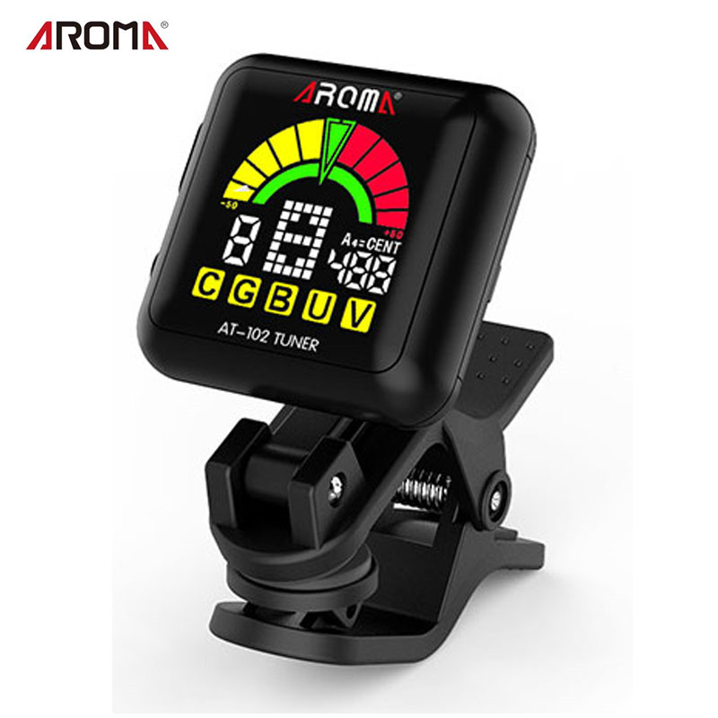 AROMA AT-102 Rechargeable Rotatab Clip On Guitar Tuner Portable Universal Digital Tuner for Chromatic Guitar Bass Ukulele Violin portable clip on guitar tuner capo 2 in 1 for guitar bass chromatic multifunction universal aroma ac 05