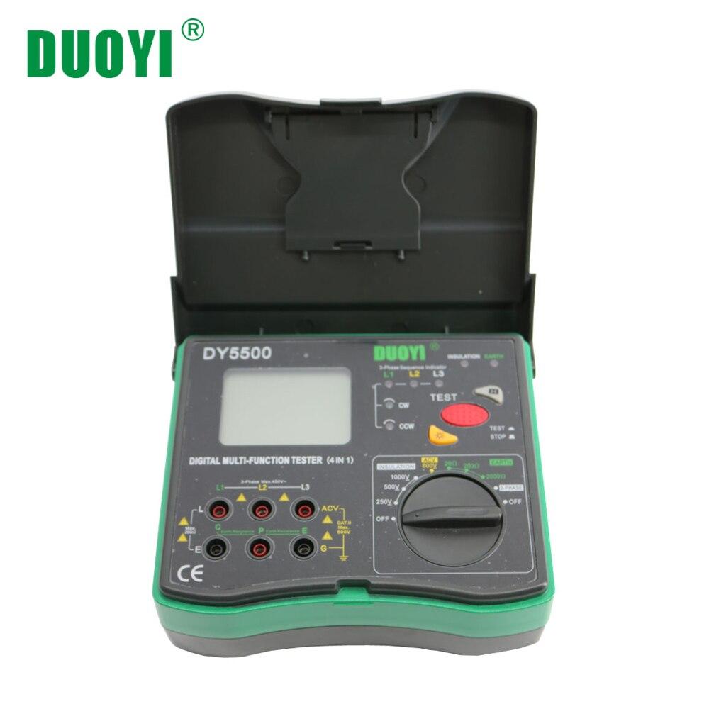 DUOYI DY5500 4 em 1 Terra Testador de Resistência de Isolamento Multímetro Digital Multifuncional de Medição Voltímetro Indicador de Fase