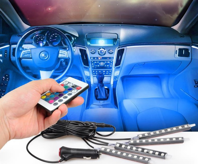 4strip/set Interior Decorative Atmosphere Neon Light Lamp Wireless Remote Multi Color RGB Car Lighter цены онлайн