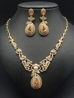 877343788b26 2018 new fashion luxury retro romantic flowers golden zircon necklace  earring set