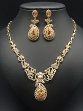2016 new fashion luxury retro romantic flowers golden zircon necklace earring set,wedding bride dinner party formal jewelry set