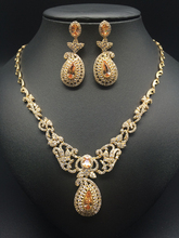 2017 new fashion luxury retro romantic flowers golden zircon necklace earring set,wedding bride dinner party formal jewelry set