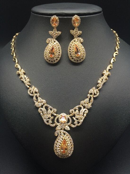 2019 nouvelle mode de luxe rétro romantique fleurs or zircon collier boucle d'oreille ensemble, mariage mariée dîner partie formelle bijoux ensemble