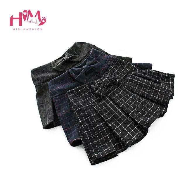 2017 Señoras Elásticos de La Cintura Pantalones Cortos Faldas Con Un Patrón De Colorful Plaid/Decorado Con Un Arco En El Estilo Preppy En Corea estilo