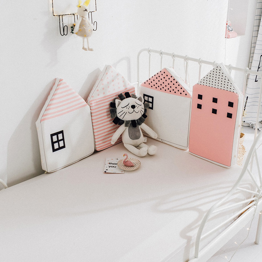 4pcs Baby Bed Bumper Little House Pattern Crib Protection Infant Cot Cute Newborn Bedding Baby Bed Bedding Baby Room Decoration