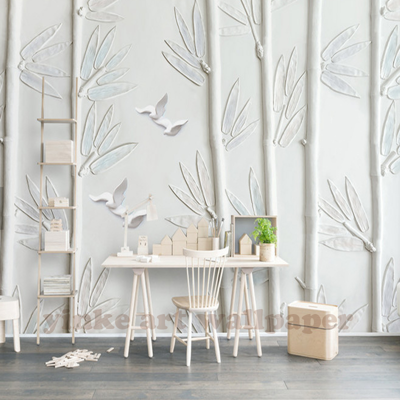 Stereoscopic Wallpaper White Plaster Embossed Bamboo Flyer Oil Painting Art Wall Mural Living Room Bedroom In Wallpapers From Home Improvement