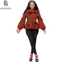 Shenbolen المرأة الأفريقية طباعة أعلى Dsahiki قميص طويل الأكمام
