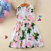 Summer style girl dress fruit lemon model baby children clothing sundress fly sleeve big clothes