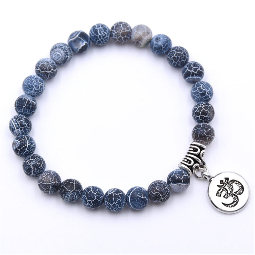 Natural Stone Strand Bracelet Yoga Chakra Mala Bracelet OM Lotus Women Men Beaded Charm Bracelet Jewelry Pulseras dropshipping - Окраска металла: ZT110-15