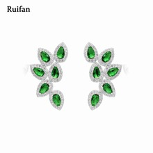 Clearance Sale Waterdrop Green Cubic Zircon Earrings Real 925 Sterling Silver Big Stud for Women Korean Jewelry YEA010