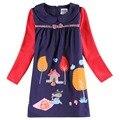 Retail nova niños clothes2015 último artículo niñas vestidos flor linda animal patrón de otoño invierno de los niños vestidos de bebé vestido de la muchacha
