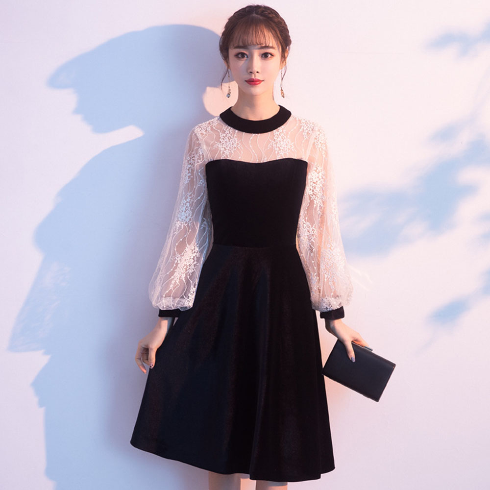 Black Short Cocktail Dresses Lace Mesh Lantern Sleeve Robe De Soiree Elegant Women Evening Gown Velvet  Vestido De Noche