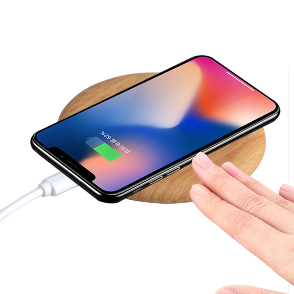 Деревянный Круглый Портативный Беспроводной телефон Зарядное устройство кабель для samsung Galaxy S6 S7 S8 края Примечание 8 Apple iPhone 8 плюс 8