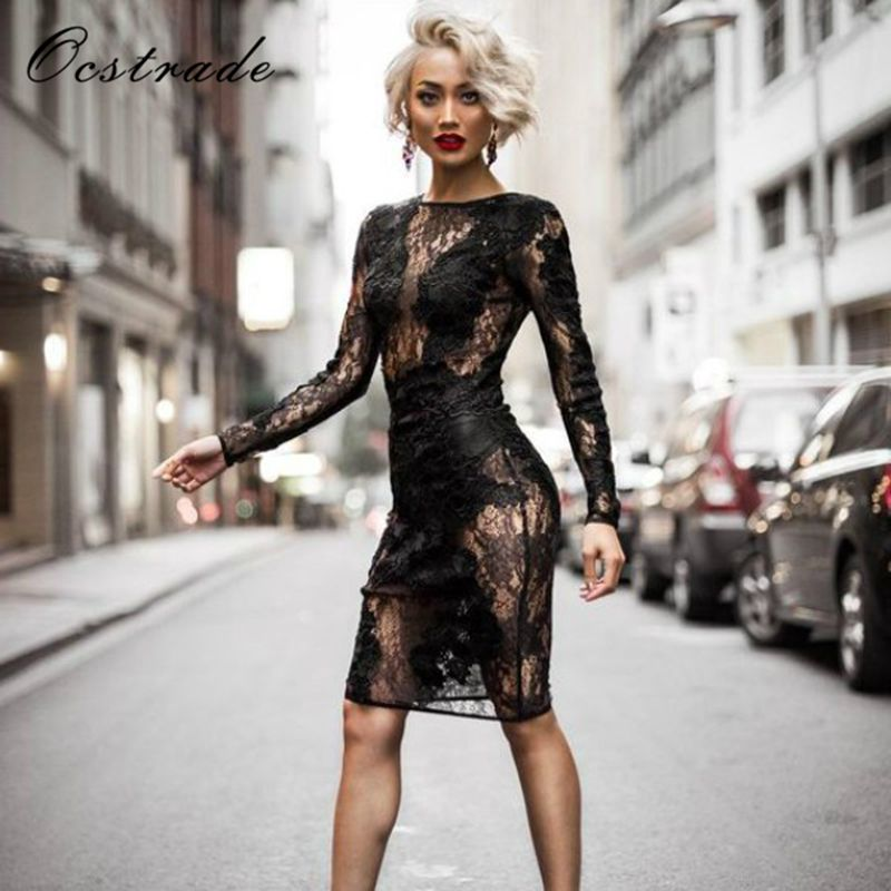 Ocstrade New in 2017 Women Black Lace Dress Long Sleeve Bodycon Mini Dress Bandage Club Sexy Wholesale