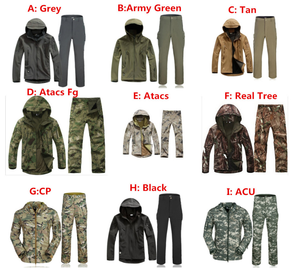 TAD Military Softshell Outdoors Men Hoodies Waterproof Sport Army Shark Skin Hunting Clothes Set Military Jacket + Pants set