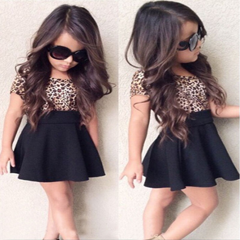 Seyurigaoka 1-6Y Fashion Toddler Baby Girl Dress V Neck Leopard Print Party Dress Casual Clothes with Belt