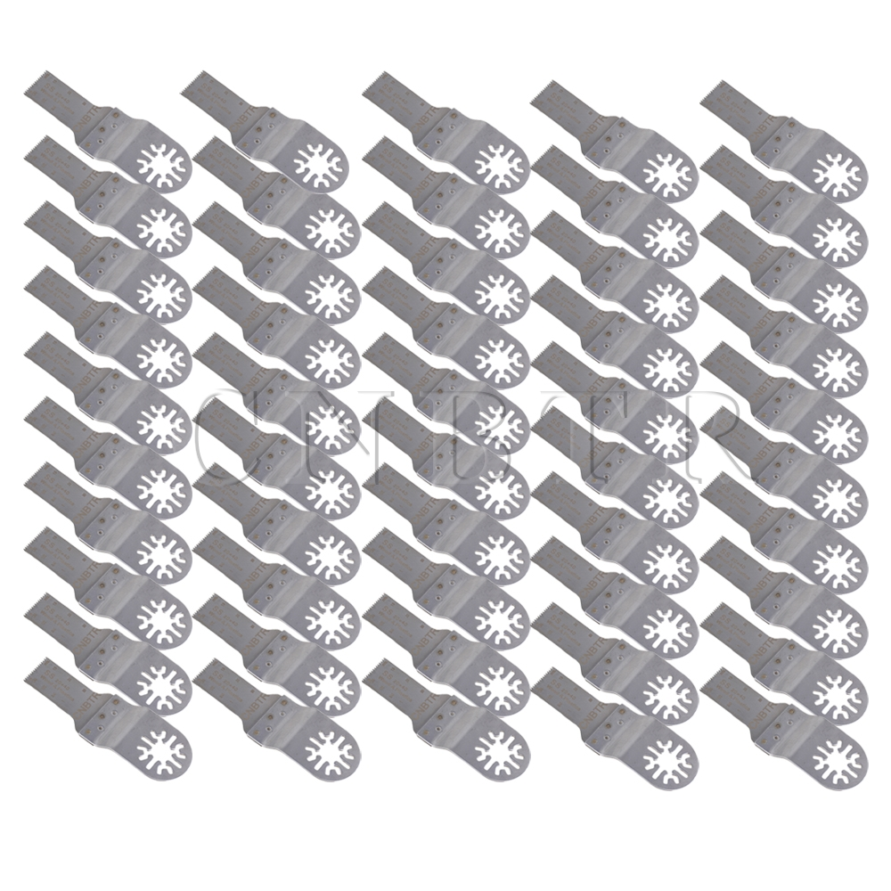 50 PCS CNBTR 20x40mm Silver Universal Stainless Steel Oscillating Saw Blade diy stainless steel motor universal coupling silver 4 x 4mm