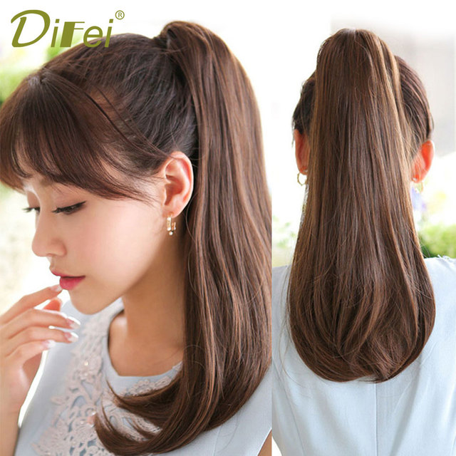 Difei Short And Medium Straight Synthetic Claw Clip Ponytail Hair