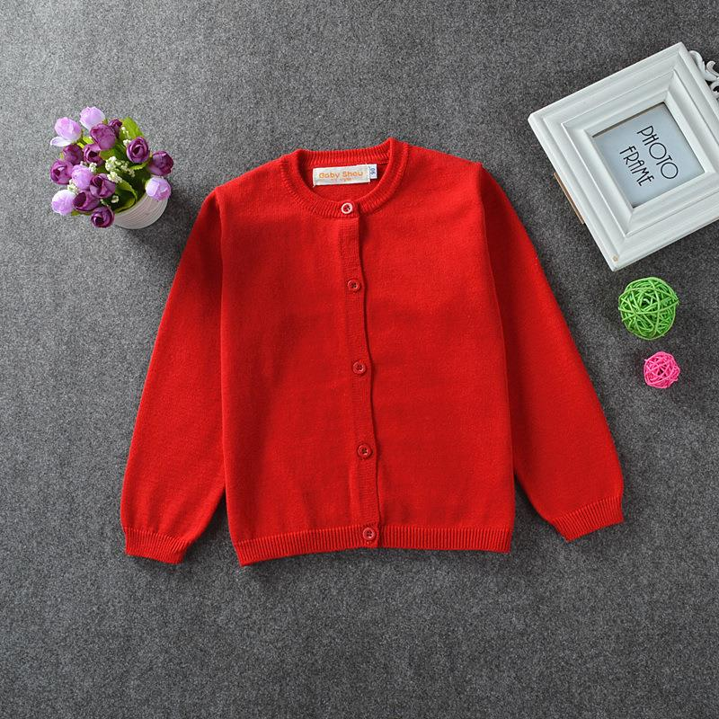 New 2016 Girl Cardigan Kids Brand Sweater Cotton Knit Long-Sleeve Basic Warm Autumn/Winter School Girl Sweater Children Clothing