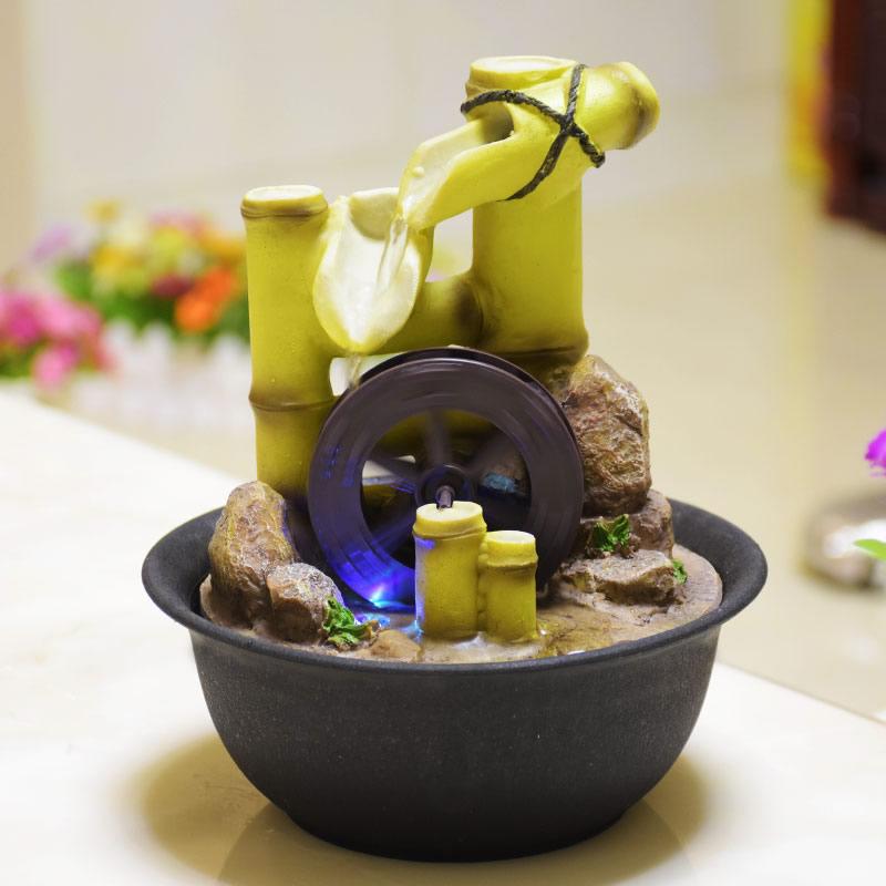 Fontaines d'eau d'intérieur Feng Shui fontaine en résine avec Led bambou roue intérieur artisanat décor de bureau fontes de agua decorativas