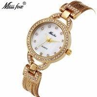 MISS FOX Simple Retro Gold Watches Women Luxury Brand Office Bracelet Ladies Jewelry Quartz Wristwatch Montre Relogio Femino